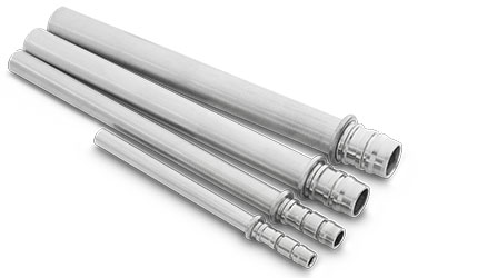 Tubes of various diameters, end-formed and rolled