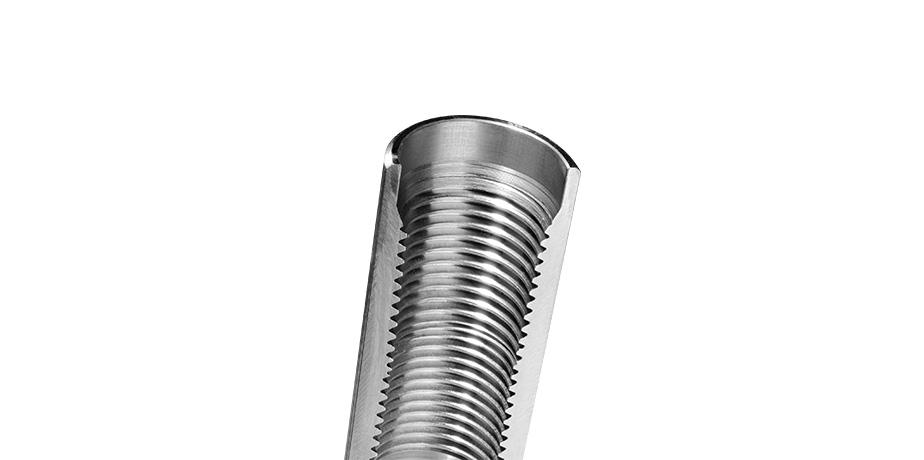 Steel tie-rod with deep internal thread