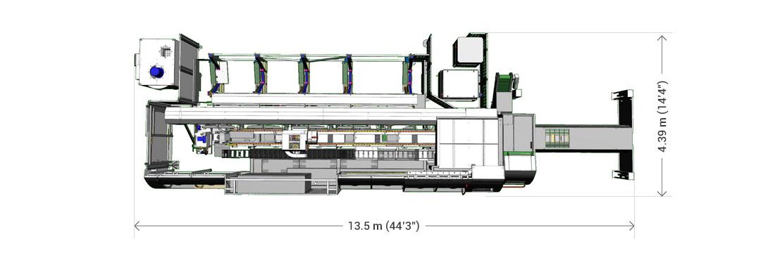 Dimensões da máquina padrão