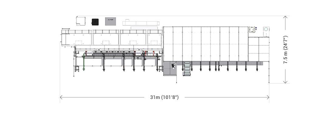 Layout base impianto di taglio laser tubo LT14 Fiber