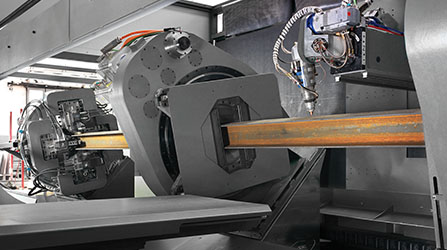 Three spindles hold the workpiece throughout the machining process