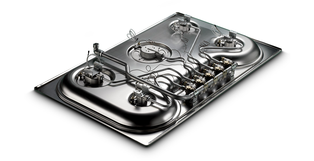 Gas stove made with electric tube bending machine and end-forming machine.      Produce coffee machine components with electric tube bending machines and end-forming machines