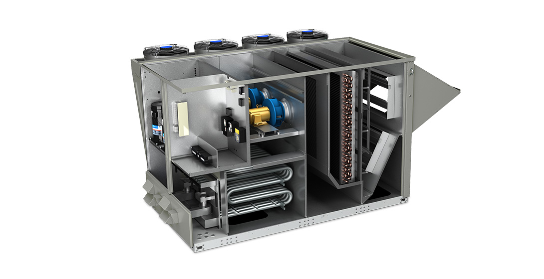 Industrial air conditioning system made by coil-fed bending and end-forming machines